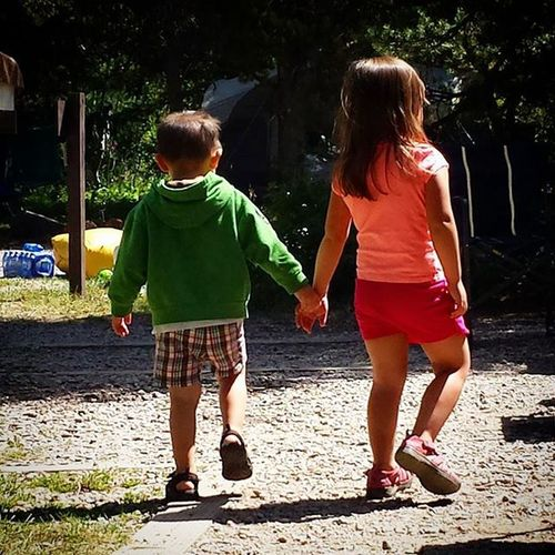 "This sweet moment melted my heart today. Zevin came up, grabbed Brenna by the hand, and said, ""come on Brenna! Brenna, come on over here!"" Zevincarlos Brennarose Cowboy Princess Siblings Bestbuds Familyreunion2015 Wellsfamilyreunion2k15"