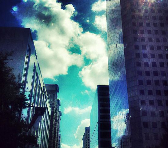 Reflection Streetphotography Sky Taking Photos Blue Building Flag Window Clouds And Sky Texas Jus Because