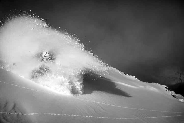 Powder snow explosion while skiing in the backcountry, austria.