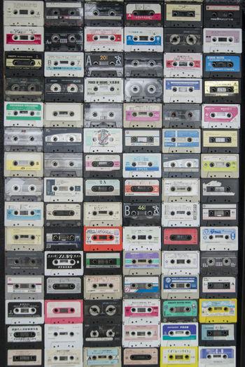 Full frame shot of colorful cassettes