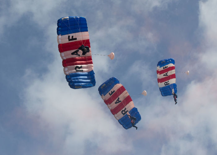 Low Angle View Of Parachutes