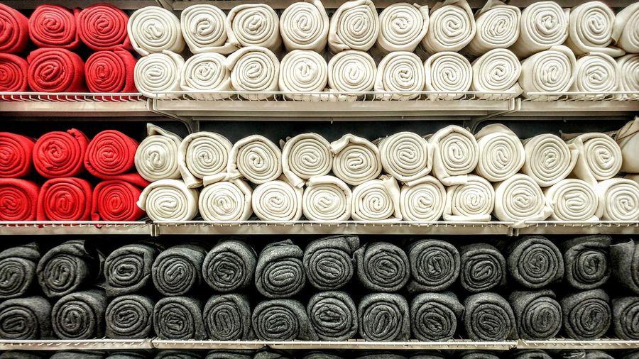Full frame shot of blankets for sale in store
