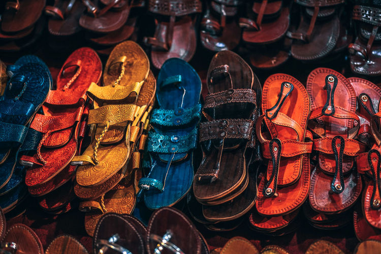 Full frame shot of shoes for sale