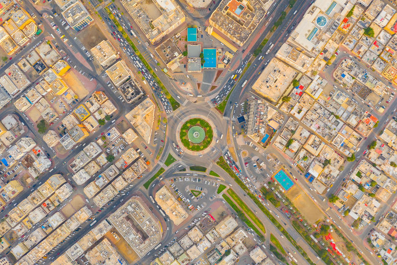 Aerial view of road intersection in city