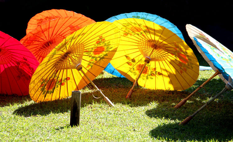 Colorful umbrellas are indigenous handicrafts in Thailand. Thai Thailand Travel Summer Holiday Health Healthcare Lifestyle Lifestyle People Handmade Handicraft Craft Art Art And Craft Indigenous  Light And Shadow Colorful Relax Recreation  Umbrella Rainy Season Entertainment Entertainment Tent Human Representation Ferris Wheel Amusement Park Ride Chain Swing Ride Butterfly - Insect Amusement Park Sun Lounger