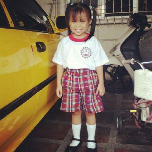 M's first day of school wearing one of her uniforms. Kinder Casan Littleschoolgirl