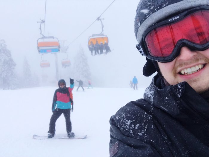 Snowboarding Selfies Snow Winter Cold Temperature Clothing Warm Clothing Leisure Activity Real People Lifestyles Men Cable Car Covering White Color Females People Transportation Outdoors Nature Women Portrait Mountain
