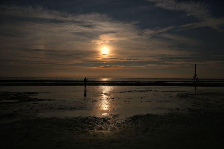 Crosby Beach Sky Scenics - Nature Water Beauty In Nature Sea Nature Crosby Beach Sunset Cloud - Sky Land Beach Tranquility Reflection Tranquil Scene Sun No People Horizon Idyllic Silhouette Horizon Over Water Outdoors