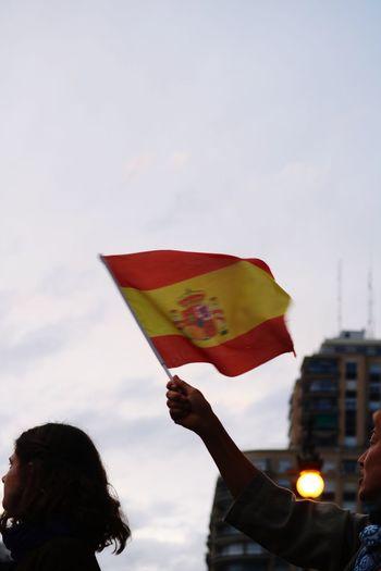 Manifestation SPAIN Valencia, Spain Flag Sky Real People Nature Patriotism Building Exterior Holding City Emotion