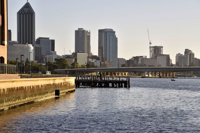 Jetty Built Structure Water Reflection Sky City Downtown District Taking Photos Enjoying Life Relaxing