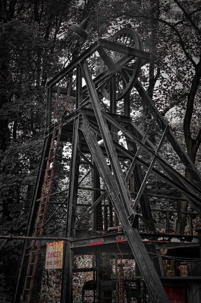 Danager HDR Mine Shaft Selective Colour Abandoned Architecture Building Exterior Built Structure Forest Industry Low Angle View Metal Nature No People Old Outdoors Plant Transportation Tree Weathered