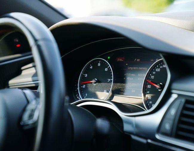 Close-up of gauges in car