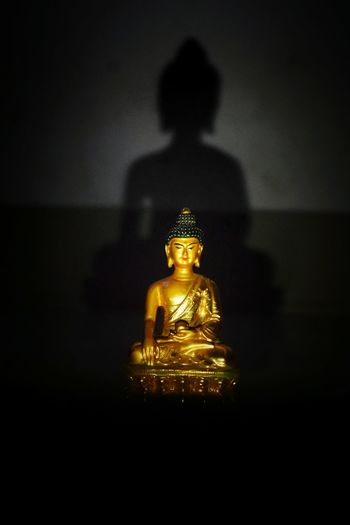 Gold Colored Statue Sculpture Gold Spirituality Low Light Buddha Buddhism Monastery Nikon EyeEmNewHere EyeEm Selects Togetherness Love Picoftheday Experimental Photography Shadow Human Representation Enlight Life Dark Silhouette Indoors  Photography Themes Photoshopexpress