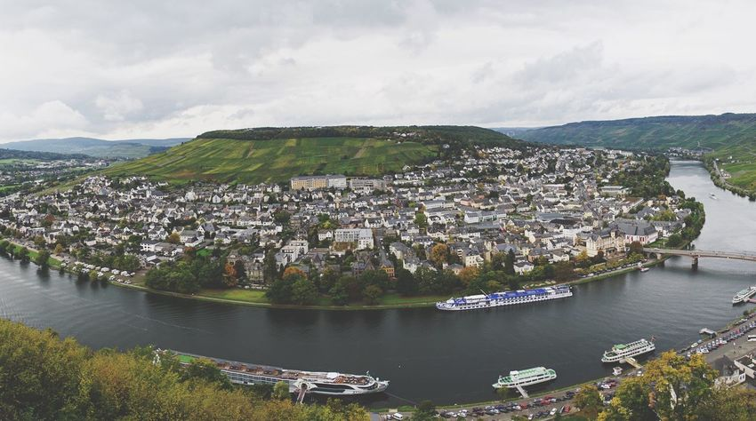 Bernkastel-Kues Building Exterior Architecture Built Structure River Sky Mountain House Day Cityscape Outdoors Residential Building City Town Water No People Cloud - Sky Nautical Vessel Mountain Range Community Nature
