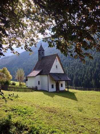 Church Chapel Welschnofen Nova Levante Trentino Alto Adige Alto Adige South Tyrol Italy Autumn Tree Built Structure Architecture Field No People Grass Building Exterior Tranquility Outdoors Day Scenics Nature Landscape Growth Beauty In Nature Sky