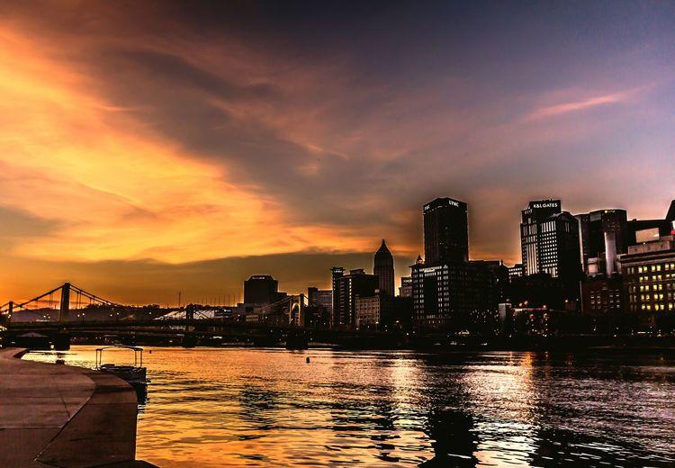 Sunrise on the Allegeny River, Pittsburgh, Penn. Sunrise Alleheny River