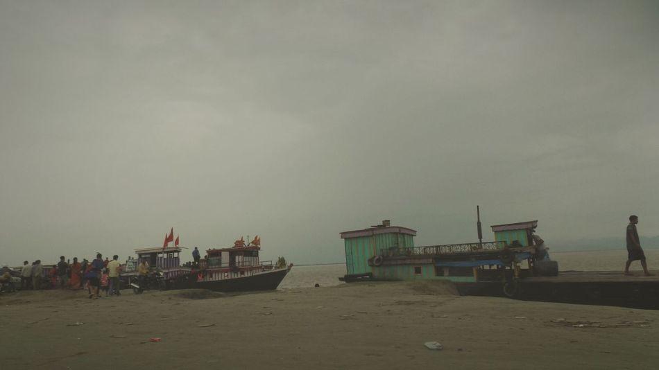 Beach Ferry People Sand And Sea Outdoors Sky Brahmaputra_ghat Brahmaputra_river