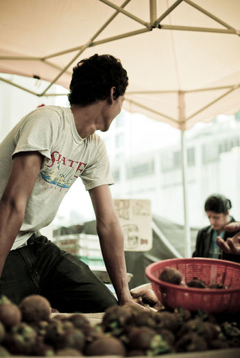Casual Clothing Food Food And Drink Fruits Hawkers Mangosteen Sellers Stalls At Sunday Market Young Adult