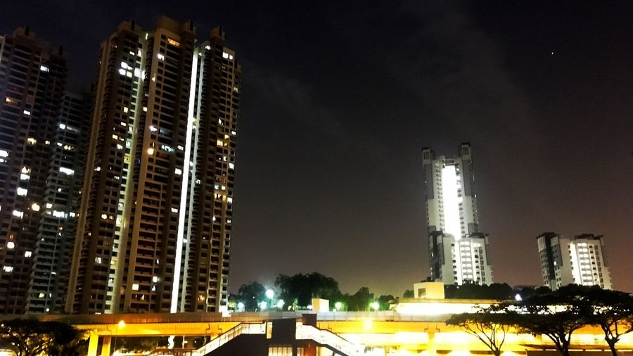 Night Illuminated Architecture City Building Exterior Built Structure Outdoors Skyscraper Low Angle View No People Sky Cityscape Cloud - Sky