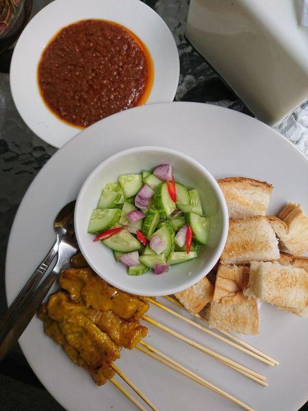 Satay(pork) Satay Evening White Plate Food Asian Food Pork Lunch Chilli Cucumber