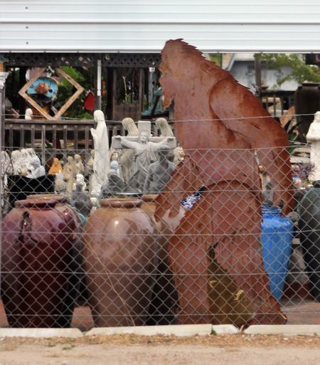 Kinda out of place. Lol. Bigfoot metal cutout. At one of those statuary places for yard deco. Outdoors Photos On The Street Houston Texas Bigfoot My Original Photo Popular Photos Yard Deco The Week On EyeEm