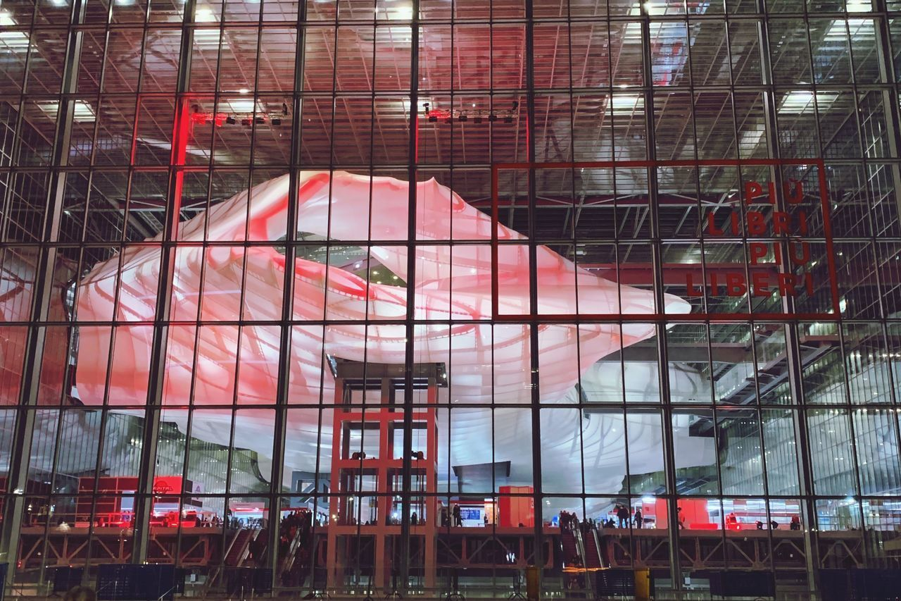 architecture, built structure, indoors, day, red, glass - material, no people, reflection, transparent, arts culture and entertainment, building, industry, low angle view, absence, window, scaffolding, travel, ceiling