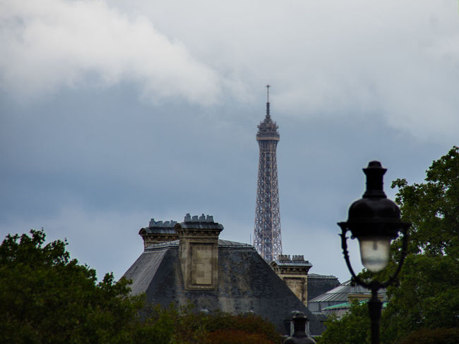 Architecture Built Structure Capital Cities  City Cloud Cloud - Sky Eiffel Tower Famous Place History International Landmark Outdoors Sky Spire  Tourism Tower Travel Destinations Tree