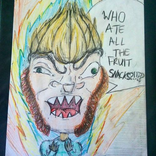 And on today's episode of Weird Self Portraits with Shep Bryan, we've got a real treat for you folks. Weird Selfportrait Shep Supersaiyan fruitsnacks dbz muttonchops beardgang colors coloredpencil pencil freehand sketchin