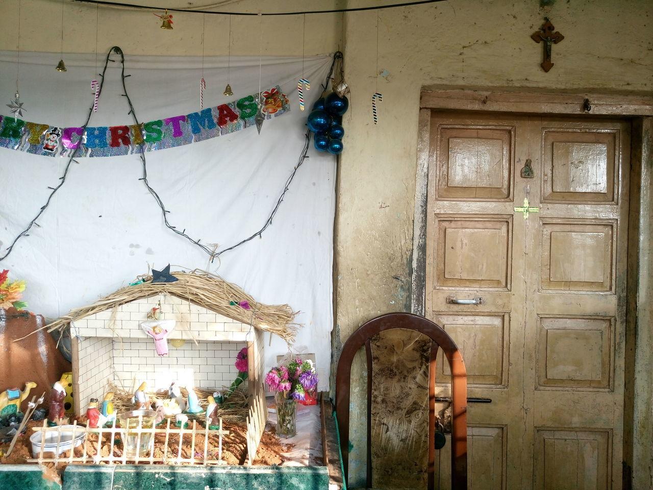Crib outside old house