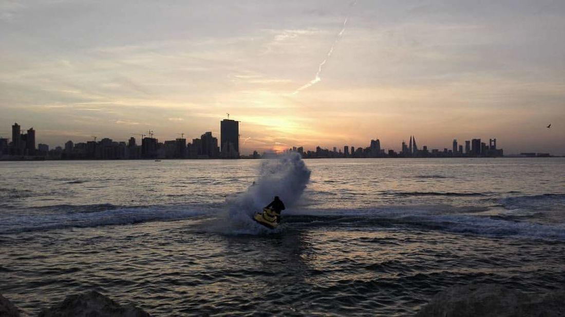 Sunset Sea Travel Destinations Water Wave Vacations Seaview Bahrain Bahrain Tourism Photography Jetskiing Juffair Been There.