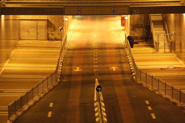 Driveway Of Illuminated Parking Lot