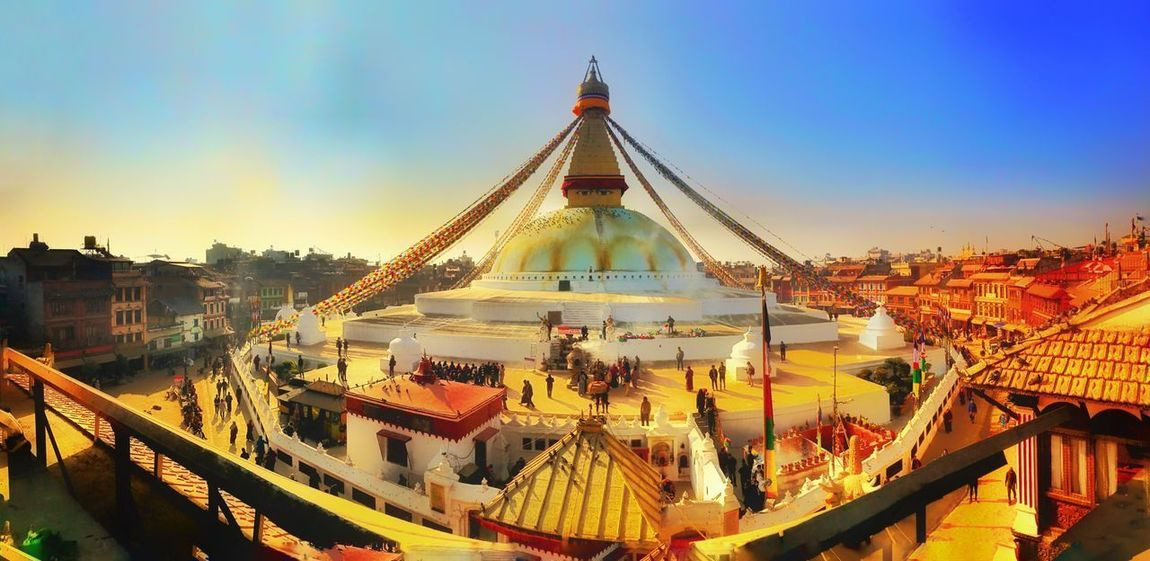 Boudhanath Temple in Kathmandu WeekOnEyeEm EyeEm Best Shots Kathmandu, Nepal Boudhanath Boudhanath Stupa Temple - Building Built Structure Architecture Religion Outdoors Day No People Spirituality Place Of Worship Sunlight Building Exterior Clear Sky Sky