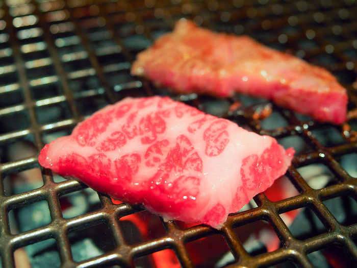 Beef sliced barbecue or Matsusaka wakyu grilled,Japanese traditional food. ASIA BBQ Beef Cooking Cuisine Dinner Matsusaka Beef A5 Barbecue Cattle Cow Eat Fat Fire Food Food And Drink Freshness Grilled Indoors  Kobe No People Red Steak Wakyu Yakiniku