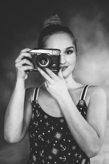 Claudia The Week On EyeEm Fujifilm Fujifilm_xseries Xpro2 Slovakia🇸🇰 Blackandwhite Bw_collection Photography Themes Retro Styled Photographing Old-fashioned Camera - Photographic Equipment One Woman Only Adult Portrait Adults Only Only Women One Person People Looking At Camera Photograph Photographer Young Adult