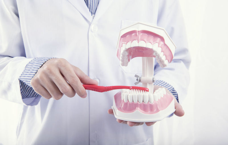 Midsection of dentist holding denture with toothbrush against white background