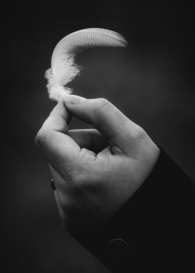 FEATHERED Eye4photography  Blackandwhite Darkness Feather  Hand Human Hand Human Body Part Real People One Person Body Part Human Finger Unrecognizable Person Finger Holding Human Limb Women Emotion