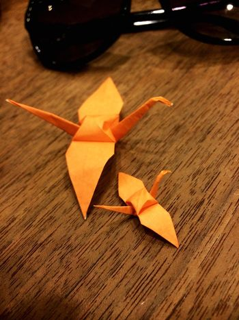 I played the origami with my children. Origami 鶴 Crane Japanese Culture