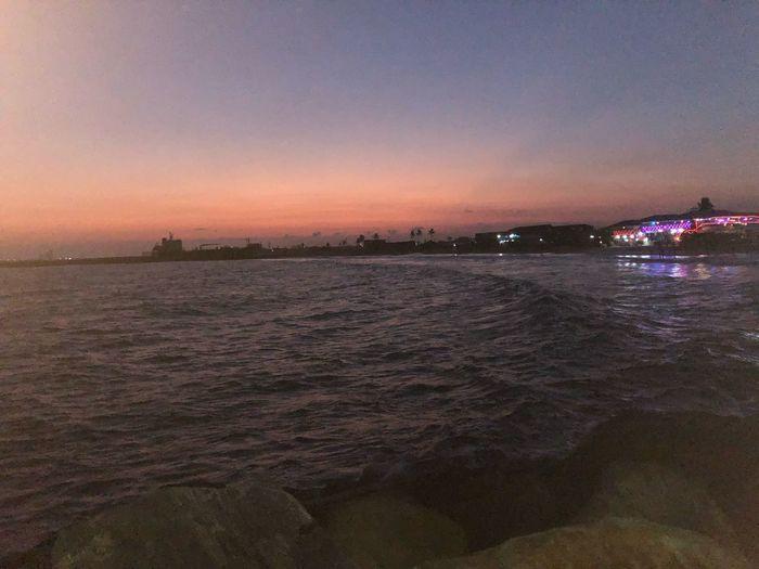 Sky Sea Water Scenics - Nature Beach Beauty In Nature Land Night Sunset City Sand Nature No People
