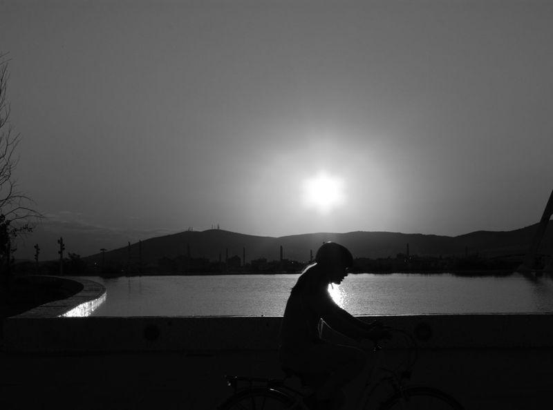 Bicycle Sunset Black & White