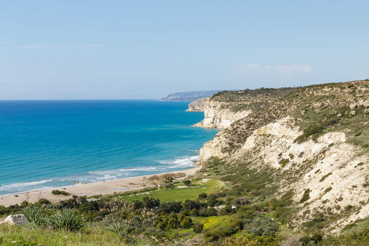View of Kourion Beach, Cyprus, Kourion Cyprus Cyprus. Kourion Episkopi Seashore Travel Beach Beauty In Nature Blue Cliff Coast Day Horizon Horizon Over Water Kourion Land No People Outdoors Scenics - Nature Sea Sky Spring Tranquil Scene Travel Destinations Water Land Beauty In Nature Coastline Nature Landscape Rock
