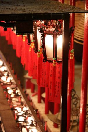 Man Mo Temple ASIA Chinese Temple Close-up Focus On Foreground Hanging Hong Kong Hong Kong City Illuminated Indoors  Lantern Light Lights Man Mo Temple No People Place Of Worship Place Of Worship Red Religion Spirituality Temple Temple Lights Worship