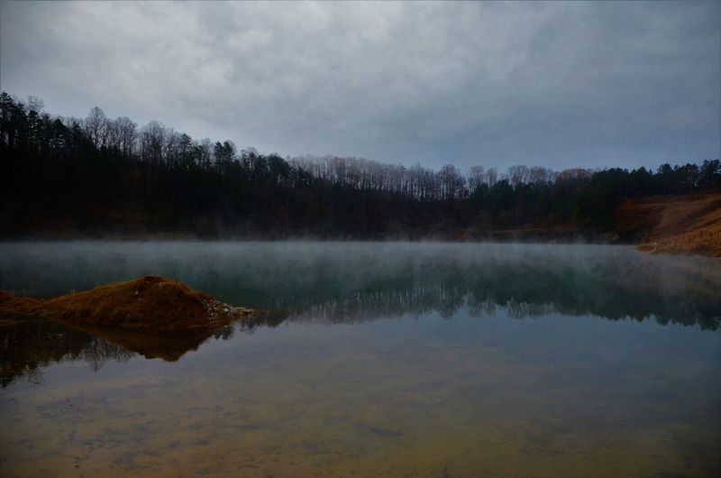 Water Tranquility Lake Tranquil Scene Tree Scenics - Nature Reflection Beauty In Nature Sky Plant No People Nature Non-urban Scene Cloud - Sky Idyllic Forest Day Fog Outdoors Reflection Lake