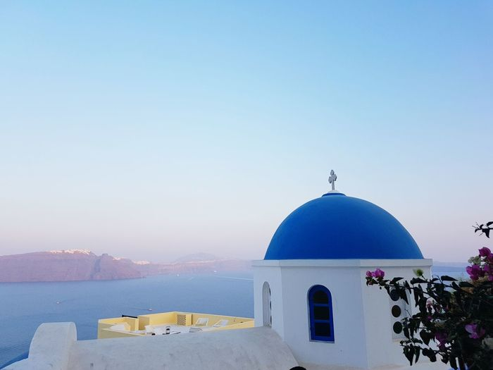 Dome Architecture Water Temple Greece Santorini Ocean View Sunset
