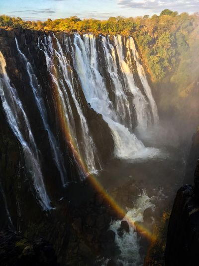 Waterfall Outdoors Nature Water Landscape Rainbow Zambia Victoria Falls In Zambia, Africa IPhone Photography
