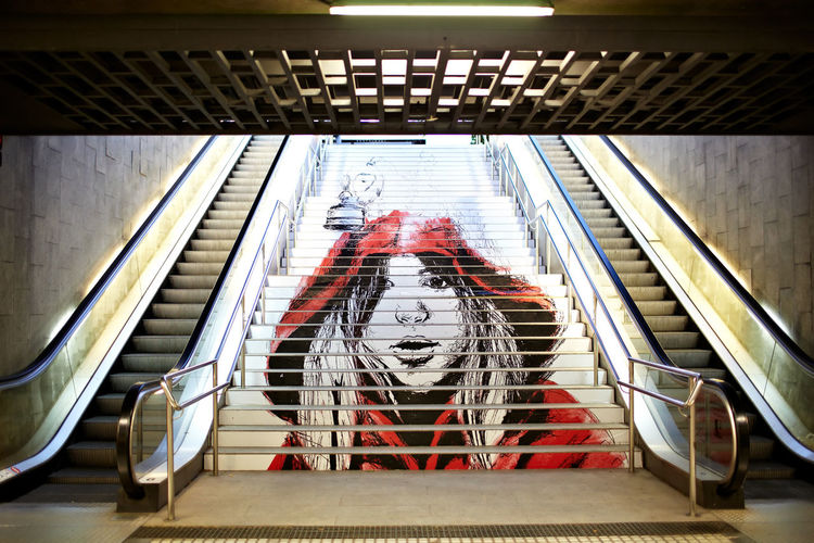Art Artartisan Barcelona Escalator Girl Graffiti Graffiti In The Metro Hair Image Metro Modern No People Nobody Painting Print Red Stairs Street Art Subway Teenager Underground Railway