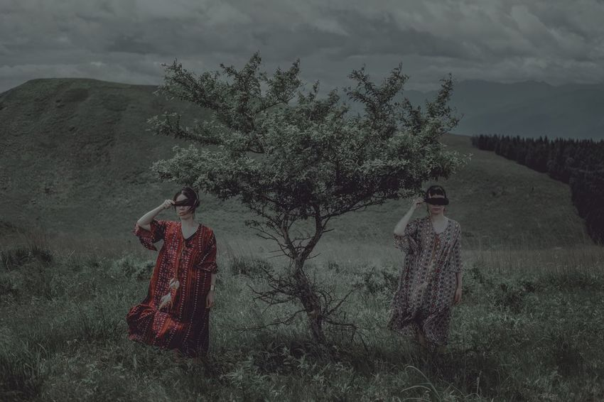 Two People Field Traditional Clothing Standing Tree Women Nature Outdoors Landscape Lifestyles Togetherness Nightphotography Fujifilm Japan EyeEm Best Shots