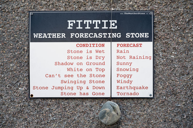 21st Century Weather Forecast Aberdeen,Scotland Funny Weather Forecast :-) Close-up Communication Day Fittie Footdee Information Sign Instructions Light Hearted No People Outdoors Stone Wall Text Western Script