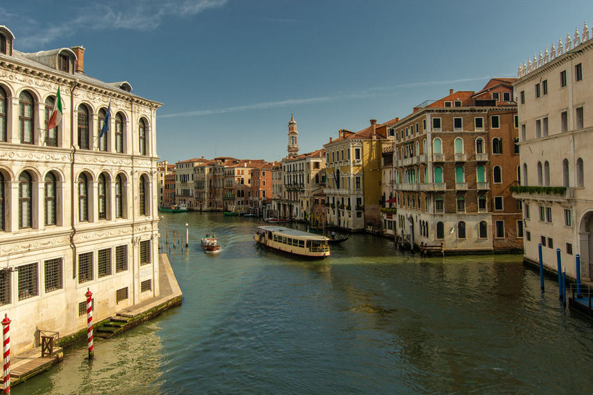 Vaporetto on Canal Grande Canal Grande Architecture Building Canal City Day Italy Mode Of Transportation Outdoors Passenger Craft Residential District Sky Transportation Travel Travel Destinations Venice Water Waterfront