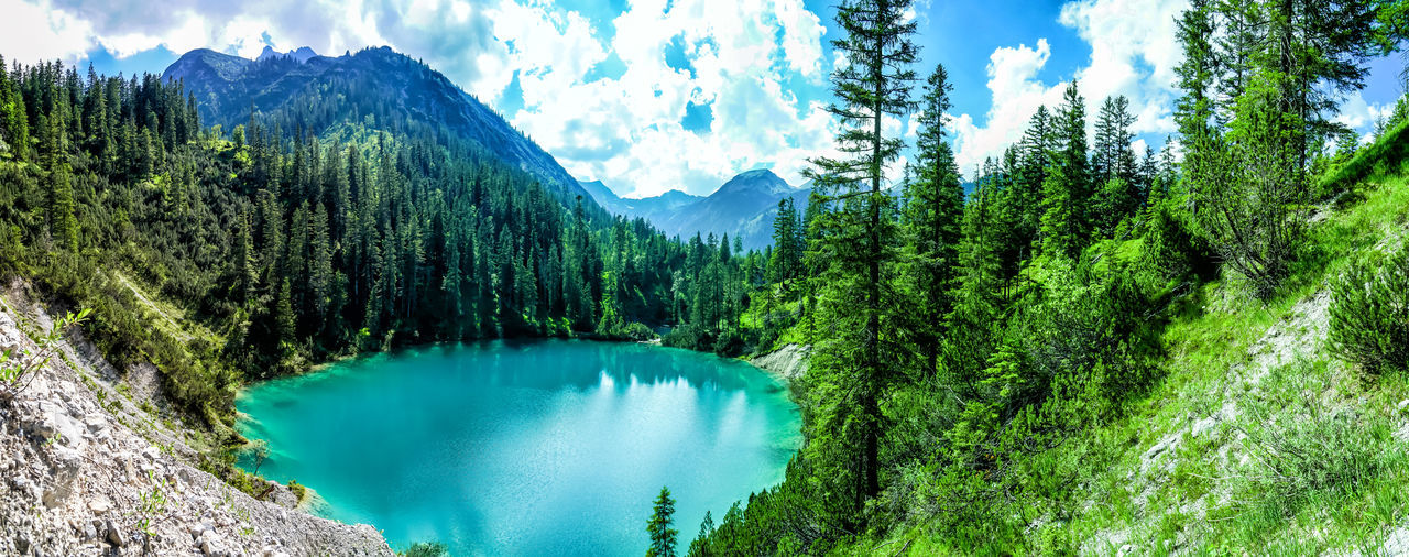 Sieglseen Scenics - Nature Tree Beauty In Nature Mountain Water Plant Tranquil Scene Tranquility Non-urban Scene Lake Sky Nature Cloud - Sky Forest Green Color Remote Panoramic Land Environment No People Mountain Range Outdoors Pine Tree Coniferous Tree Turquoise Colored Mountain Lake Turquoise Alps Tyrol Austria
