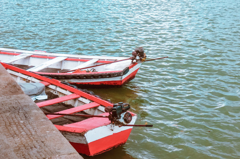 Red boats Boat Boats Day Lake Mode Of Transport Nature Nautical Vessel No People Outdoors Real People Sea Tranquility Transportation Water